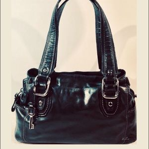 👛2/$50Fossil Black Leather Satchel